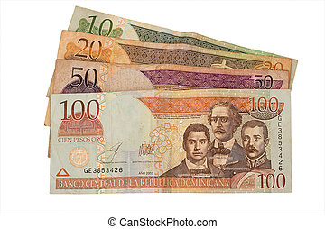 Dominican Republic currency - 10, 20, 50, and 100 Dominican...