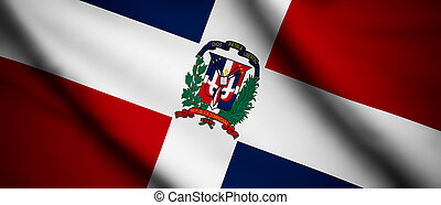 Dominican Republic - High detailed waving flag of different...