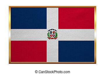 Dominican Republic flag, golden frame, textured