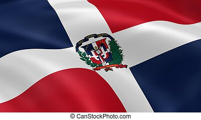 Dominican Republic flag in the wind. Part of a series.