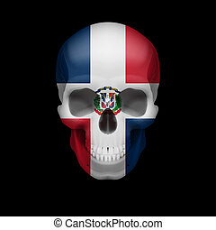 Dominican Republic flag skull - Human skull with flag of...