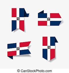 Dominican Republic flag stickers and labels set. Vector illustration.
