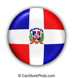 World Flag Button Series - Caribbean - Dominican Republic (With Clipping Path)