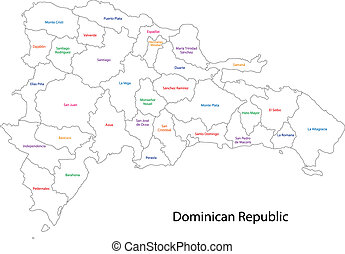 Dominican Republic map - Outline Dominican Republic map with...