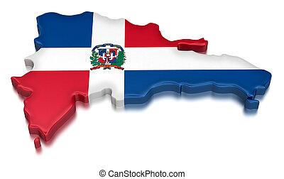 Dominican Republic - Map of Dominican Republic. 3d render...