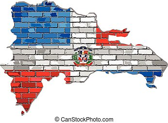 Dominican Republic map on a brick wall - Illustration, ...