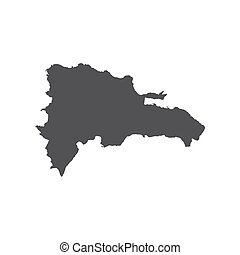 Dominican Republic map silhouette on the white background....