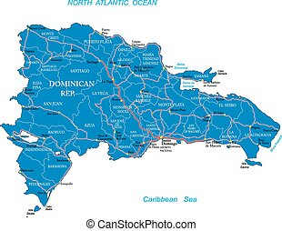 Dominican Republic map - Highly detailed vector map of...
