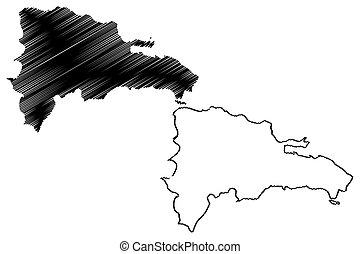 Dominican Republic map vector illustration, scribble sketch...