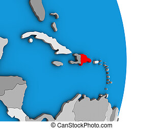 Dominican Republic on 3D globe