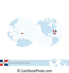 Dominican Republic on world globe with flag and regional map of Dominican Republic.
