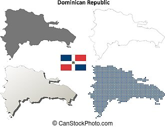 Dominican Republic outline map set