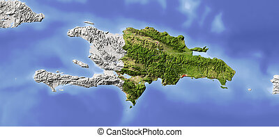 Dominican Republic. Shaded relief map. Surrounding territory greyed out. Colored according to vegetation. Includes clip path for the state area. Projection: Mercator Extents: -75.5/-67/17/20.7