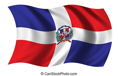 Dominican Republic - Flag of the Dominican Republic waving...