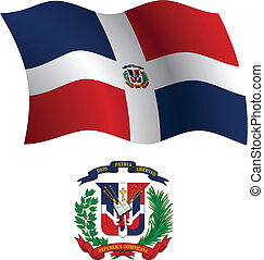 dominican republic wavy flag and coat of arms against white...