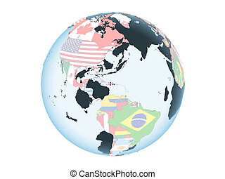 Dominican Republic with flag on globe isolated