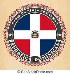 dominicano, flag., etiqueta, república, vendimia, tarjetas