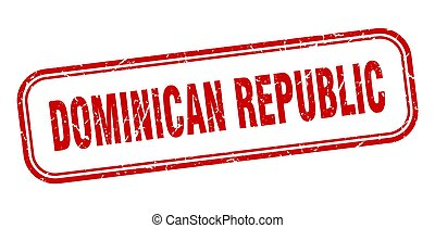 dominicano, grunge, stamp., república, señal, aislado, rojo