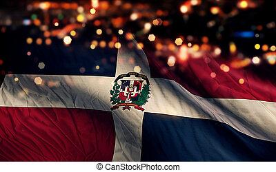 dominicano, luz, bandera nacional, bokeh, república, plano ...
