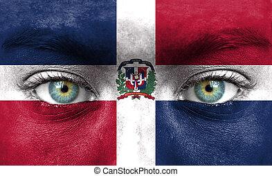 dominicano, pintado, cara, bandera, república, humano