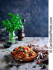 dominicano, salchichas, arroz, vegetales