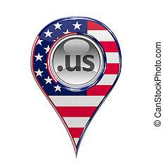 dominio, perno, bandiera, isolato, americano, pennarello, 3d