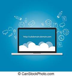 dominio, subdomain, nombre, .com, ilustración, dirección...