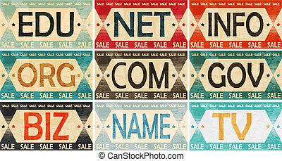 dominio, vendimia, colección, etiqueta, nombres, diseñar