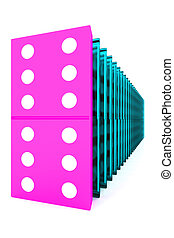 Domino. 3d - 3D rendered domino isolated on white background