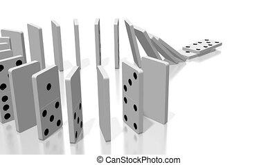 domino, animatie, effect, 3d