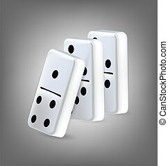 domino, blocs, trois, illustration