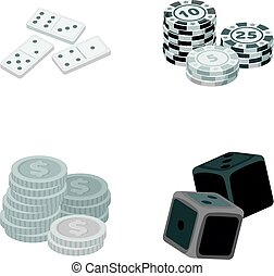 Domino bones, stack of chips, a pile of mont, playing blocks. Casino and gambling set collection icons in monochrome style vector symbol stock illustration web.