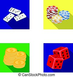 Domino bones, stack of chips, a pile of mont, playing blocks. Casino and gambling set collection icons in flat style vector symbol stock illustration web.