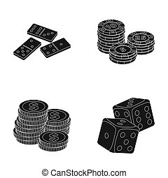 Domino bones, stack of chips, a pile of mont, playing blocks. Casino and gambling set collection icons in black style raster,bitmap symbol stock illustration web.