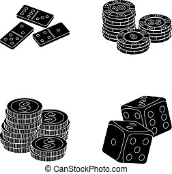 Domino bones, stack of chips, a pile of mont, playing blocks. Casino and gambling set collection icons in black style vector symbol stock illustration web.