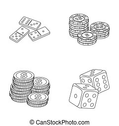 Domino bones, stack of chips, a pile of mont, playing blocks. Casino and gambling set collection icons in outline style raster,bitmap symbol stock illustration web.