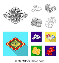 Domino bones, stack of chips, a pile of mont, playing blocks. Casino and gambling set collection icons in outline, flat style bitmap symbol stock illustration web.