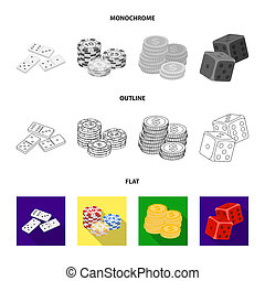 Domino bones, stack of chips, a pile of mont, playing blocks. Casino and gambling set collection icons in flat, outline, monochrome style bitmap symbol stock illustration web.