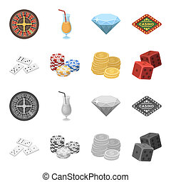 Domino bones, stack of chips, a pile of mont, playing blocks. Casino and gambling set collection icons in cartoon, monochrome style bitmap symbol stock illustration web.