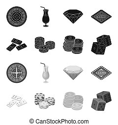 Domino bones, stack of chips, a pile of mont, playing blocks. Casino and gambling set collection icons in black, monochrome style bitmap symbol stock illustration web.