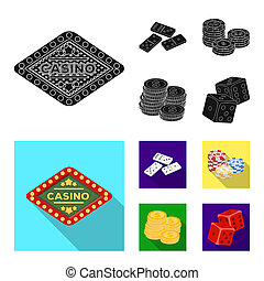 Domino bones, stack of chips, a pile of mont, playing blocks. Casino and gambling set collection icons in black, flat style bitmap symbol stock illustration web.
