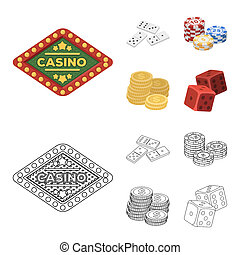 Domino bones, stack of chips, a pile of mont, playing blocks. Casino and gambling set collection icons in cartoon, outline style bitmap symbol stock illustration web.