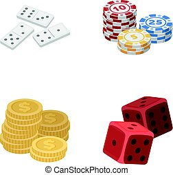 Domino bones, stack of chips, a pile of mont, playing blocks. Casino and gambling set collection icons in cartoon style vector symbol stock illustration web.
