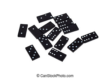 Domino chips with different numbers scattered on a white background. Isolate