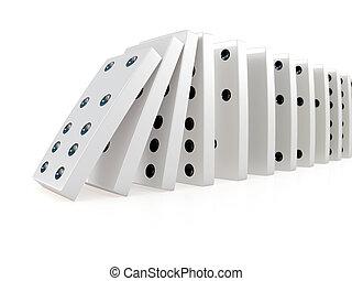 domino, crollare, catena, 3d