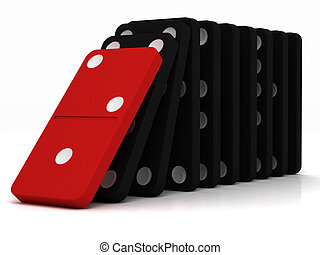 domino - black dominoes falling over on a white background