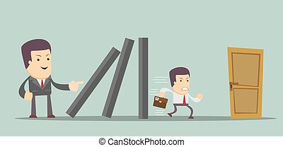 domino effect and problem solving - man running for the exit. Stock vector illustration