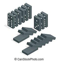 domino, effect., cheio, jogo, de, pretas, isometric, dominoes, isolado, ligado, white., apartamento, vetorial, ilustração