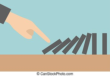Concept businessman hand pushing the domino effect