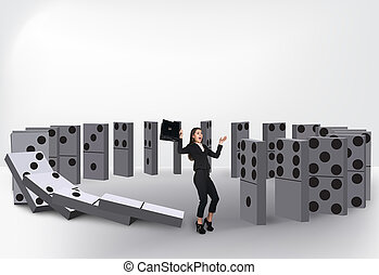 Domino effect - Domino  effect isolated on white background